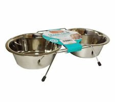 Stainless Steel Double Dinner Dog Bowl Set Food Water with Non Slip Raised Stand