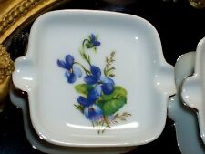 VINTAGE Royal Ann Fine China 'Sweet Violet' Miniature Ash Trays set of 4 Mn, USA