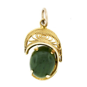 Vintage 14k Yellow Gold Oval Cabochon Cut Jade Detailed Open Swirl Charm Pendant