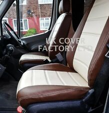 Custom fit VW Transporter T4 Van Seat Cover Cream Toffee Brown 1+1