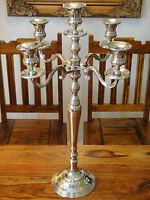 Kandelaber 50 cm Kerzenleuchter Jugendstil Silber Luxus Kerzenhalter Antik Edel