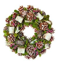 Décoration de Noël naturelle givré Cône de pin NOËL PORTE Guirlande 35CM NEUF