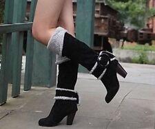 Block Heel Slip On Solid Boots for Women