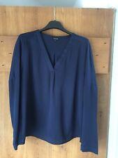 Ladies Women's Jaeger Navy Blue Long Sleeved Blouse Top Size 12 UK Silken Plain