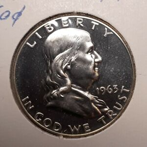 1963 Proof Benjamin Franklin 90% Silver Half Dollar Beautiful Mirror Finishes
