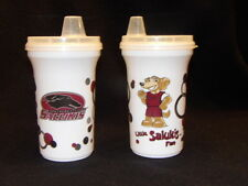 Ncaa Southern Illinois Salukis Sippy Cups Set of 2 Sippy Cups w Snap On Lids New