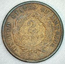 1871 US Two Cent Bronze Coin 2c United States Type Coin Good 2 sm Rim Dings K64