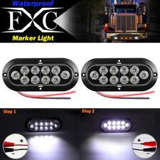 """2X 12V 10LED 6"""" White LED Reverse Backup Light Car Trailer Truck Oval Tail Lamp"""