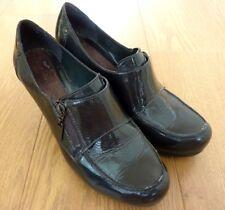 Clarks Ladies Platform Loafer Dark Green Patent Leather Shoes Size UK 7 EUR 41