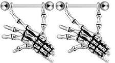 Nipple Ring Bars Skeleton Hand Body Jewelry Pair 14 Gauge Sold As Pair [Jewelry]