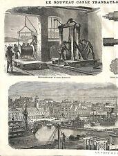BREST CABLE TRANSATLANTIQUE PORT GRAVURE IMAGE 1869