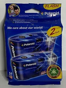 Polaroid Disposable Camera Flash Fun Shooter Blue 35mm Film Sealed Pack of 2