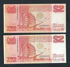 Banknote - Singapore1990 $2 Orange Ship Series 2 Runs Numbers CH556041-042 (#93