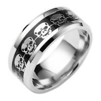 Nicht Silber Skelettmodell Herrenschmuck Schädel-Ring Rostfreier Stahl