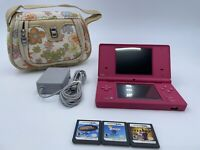 Nintendo DSi Pink System TWL-001 Bundle w/ 3 Games 1 Case 1 Charger WORKS!
