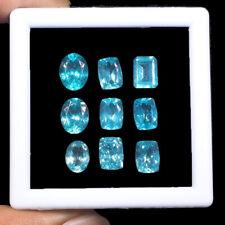 9 Pcs Natural Apatite 8mm-9.5mm Mix Cut Neon Blue Super Quality Gemstones Lot