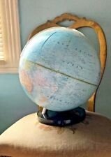 """VINTAGE 1980s National Geographic PEDESTAL GLOBE with geometer,13"""" Repogle map"""