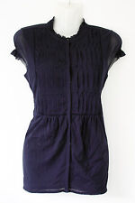 LIZ CLAIBORNE midnight blue dual layered mesh blouse shirt ruffles pleats S