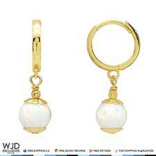 14K Solid Yellow Gold White Fire Opal Ball Huggie Hoop Dangle Earrings 7mm