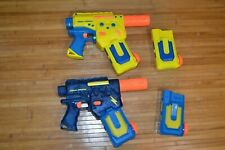 LOT 2 NERF SUPER SOAKER BATTERY POWERED WATER GUNS EXTRA MAGS (BLUE Parts AS IS)