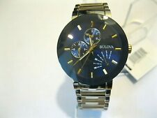 Bulova Men's 98C123 Blue Dial Two Tone Multi-Function Stainless Steel Watch,NEW
