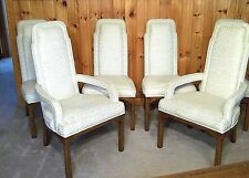 SET OF 6 MID CENTURY CHIPPENDALE ARCH TOP UPHOLSTERED DINING CHAIRS-2 ARM-4 SIDE