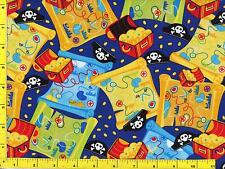 Treasure Chests and Maps on Blue Fat Quarter CKDTOY07900