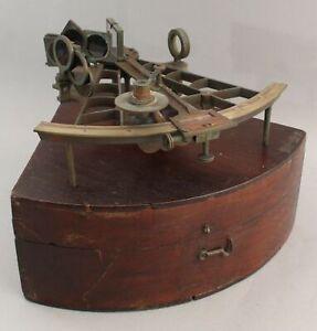 Antique 19thC Sailing Ships Nautical Sextant Dovetailed Mahogany Box
