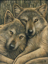 NEW Wolf Picture Loyal Companions by Lisa Parker 25 cm x 19 cm Wall Plaque