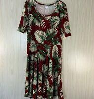 NWT LulaRoe Nicole Dress Women's Size 2XL Burgundy, Palm Leaves Stretch Knit