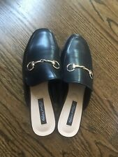 Women's New Fashion Flat Slippers Leather Black Size 7. Was $99