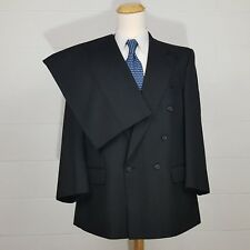46R Burberry Double Breasted Gray Herringbone Mens Wool Suit 40W Pleats 46 R