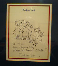 Original Barbara Bush Signed & Framed Drawing (Wife Of George Bush President)