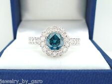 1.76 CARAT ENHANCED BLUE DIAMOND ENGAGEMENT RING 18K WHITE GOLD  HANDMADE