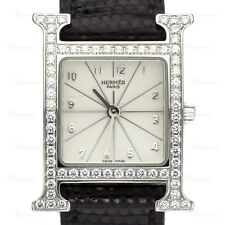 HERMES H HOUR Factory Diamond Stainless Steel PM Unisex Watch Model HH 1.230