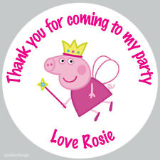 Personalised Peppa Pig Princess 37mm Birthday Stickers Party Thank You  -N185