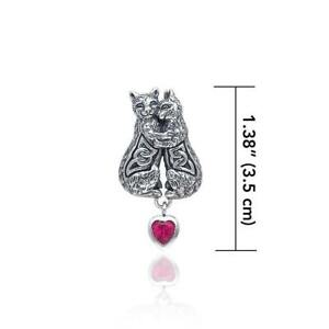 Celtic Kitty Cat .925 Sterling Silver Gemstone Pendant Peter Stone Fine Jewelry
