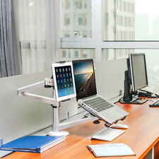 360º 2 in 1 Rotating Adjust Stand Mount Dual Arm Laptop&iPad /Tablets PC desk