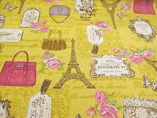 Gold eifell tower, paris, france imprimé 100% coton toile tissu.
