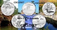 2018 P D National Park Quarters ~ Complete PD 10 Quarter ATB Set~ 10 UNC Coins