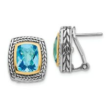 Swiss Blue Topaz Earrings .925 Sterling Silver & 14K Gold Accent Shey Couture