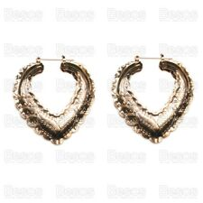 GYPSY HEART HOOP 6cm oversize creoles VINTAGE STYLE gold plated fashion earrings