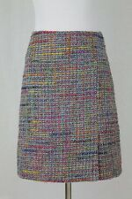 Larroque Paris Tweed Skirt Multi Pink Butterfly lining Made in France 38 S NEW