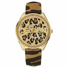 NWT Guess Swarovski Gold Leopard Print 25th Anniversary Womens Watch U85089L1