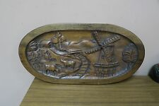 "Vintage Hand Carved Wood Panel Folk Art Windmill Barn Farm Carving 9"" x 18.5"""