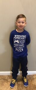 The Children's place Boys Small 5/6 Long Sleeve T-Shirt Blue Pizza Gamer Graphic