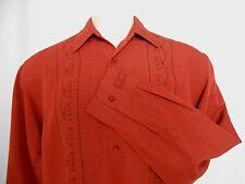 MONTE CARLO men's button-down long sleeve casual dark orange shirt size Large