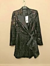 BNWT ZARA BLACK SEQUIN BLAZER DRESS WITH SATIN LAPELS AND BOW BELT SIZE XS