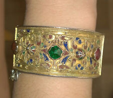 Bijou Ancien XIXème Bracelet Hadida Argent Or Emaux Traditionnel Berbère Tunisie