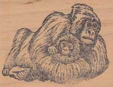 """gorrilla mother stamp affair Wood Mounted Rubber Stamp  2 1/2x 3""""  Free Shipping"""